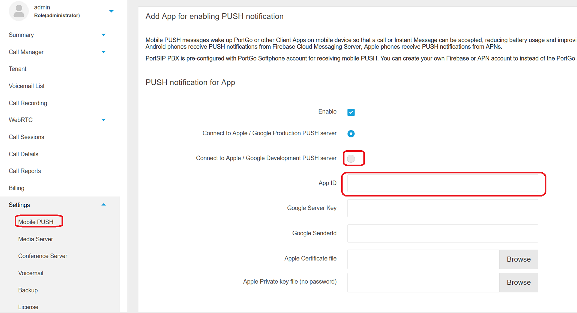 PortSIP PBX send PUSH notifications to mobile device